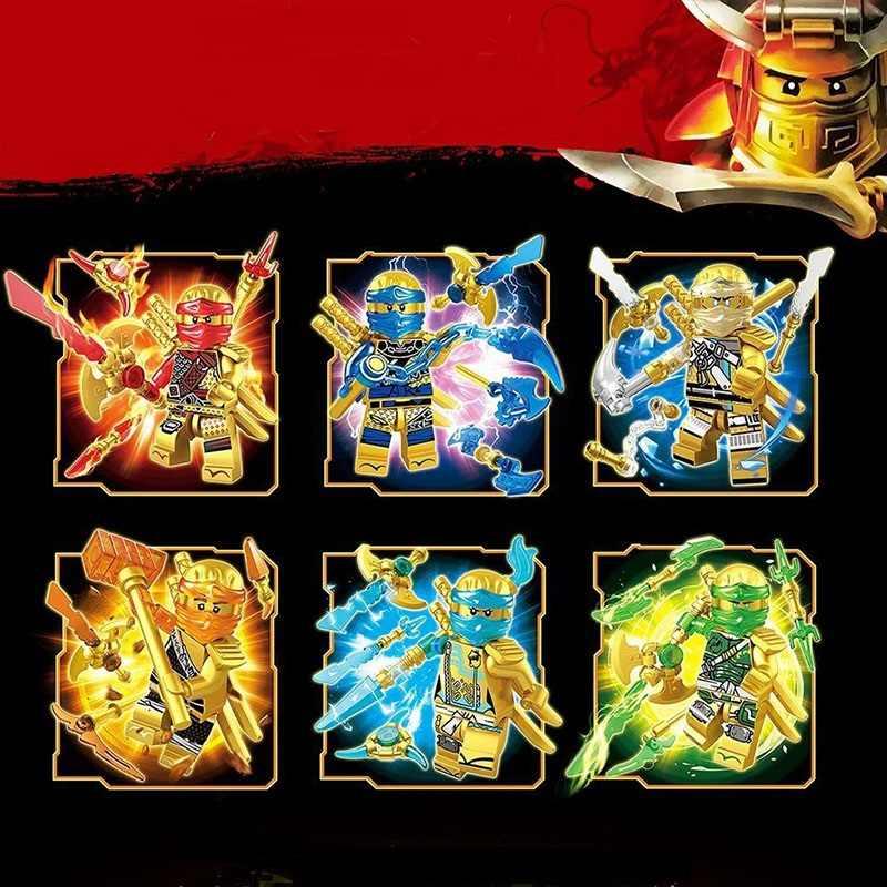 Caliente 6 uds NinjagoINGlys cifras héroes color dorado Nya Lloyd Jay Zane Kai Ninja figura con armas bloques de construcción de Juguetes