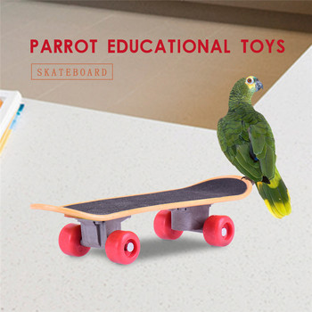 2018 New Bird Parrot Standing Swing Sports Toy Cocks Cockatiel Wavy Parrots Mini Kateboard Puppy Pet Bird Playing Supplies