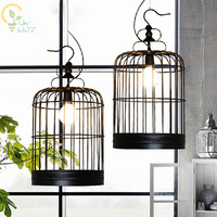 Retro Lamparas Black/White Decor American Vintage Industrial Bird Cage Pendant Light Nordic Birdcage Pendant Lamps Home Lighting