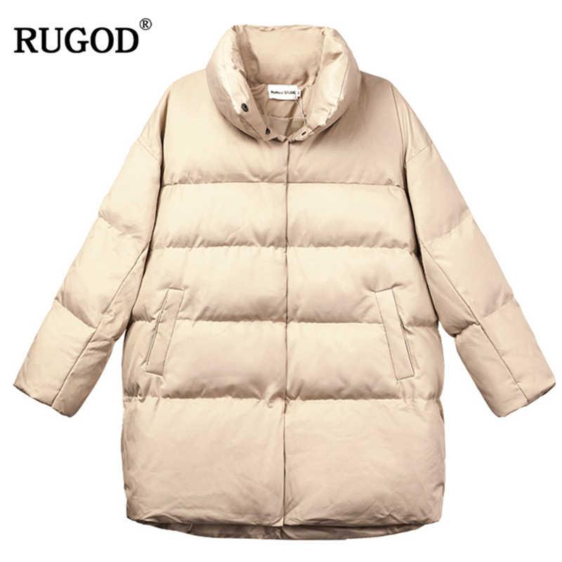 RUGOD طويل الثلوج ارتداء النساء القطن معطف طويل الأكمام معطف سميك الصلبة عادية فضفاض المرأة القمم ملابس الشتاء الدافئة casaco feminino