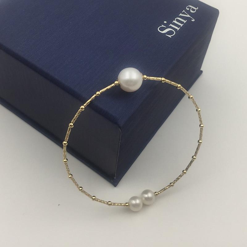 Sinya Perlas naturales 18k AU750 tubo de oro Brazaletes pulsera para mujer niña Mamá amante longitud aproximadamente 17.5 cm diámetro de perla 9-10 cm