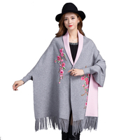 Brand New design with Bat sleeve Poncho scarf Women's Cashmere Poncho Zizith Embroider Cape Blanket wrapped shawl Scarf