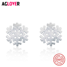 925 Sterling Silver Frosted Stud Earrings Small Fashion Cute Snowflakes For Women Gifts Clothing Accessories Jewelry snowflakes on silver cove