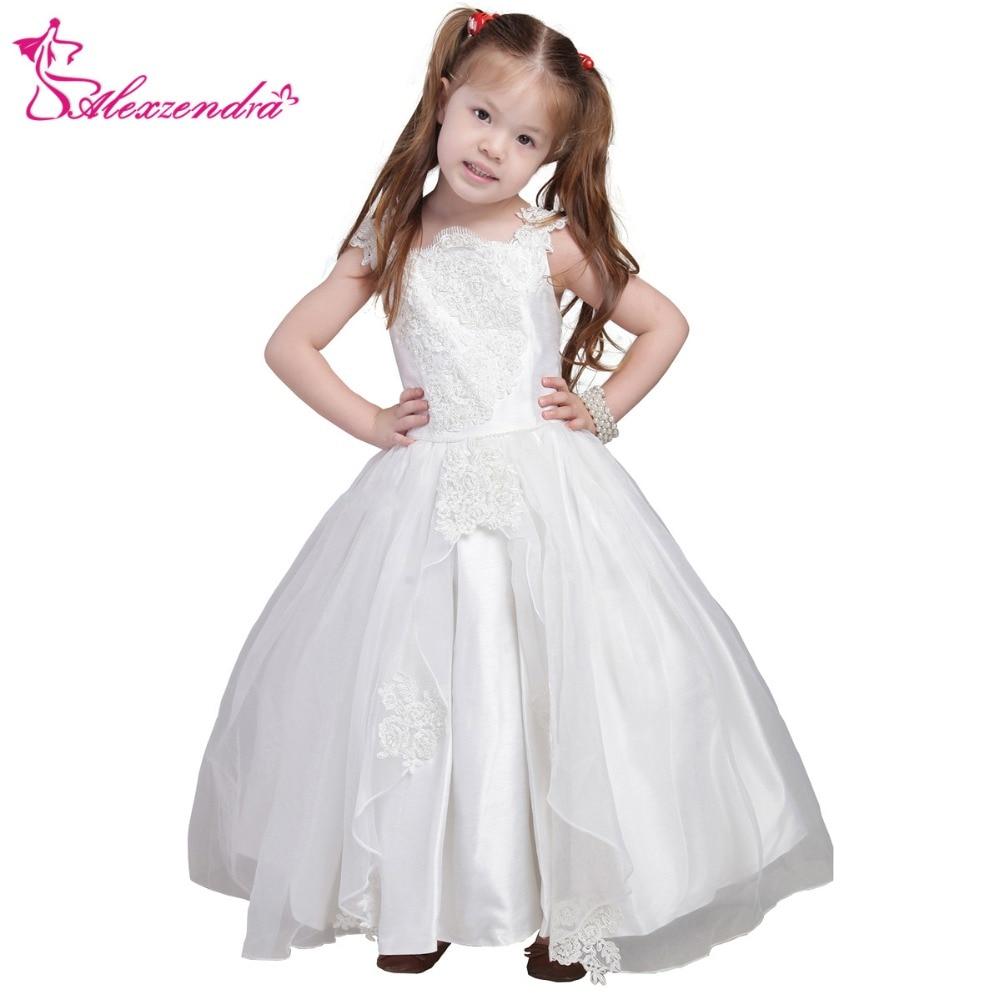 Alexzendra White Ivory Satin Flower Girls Dresses with Straps Appliqued Cute Girls First Communion Dress Princess Girl Dress