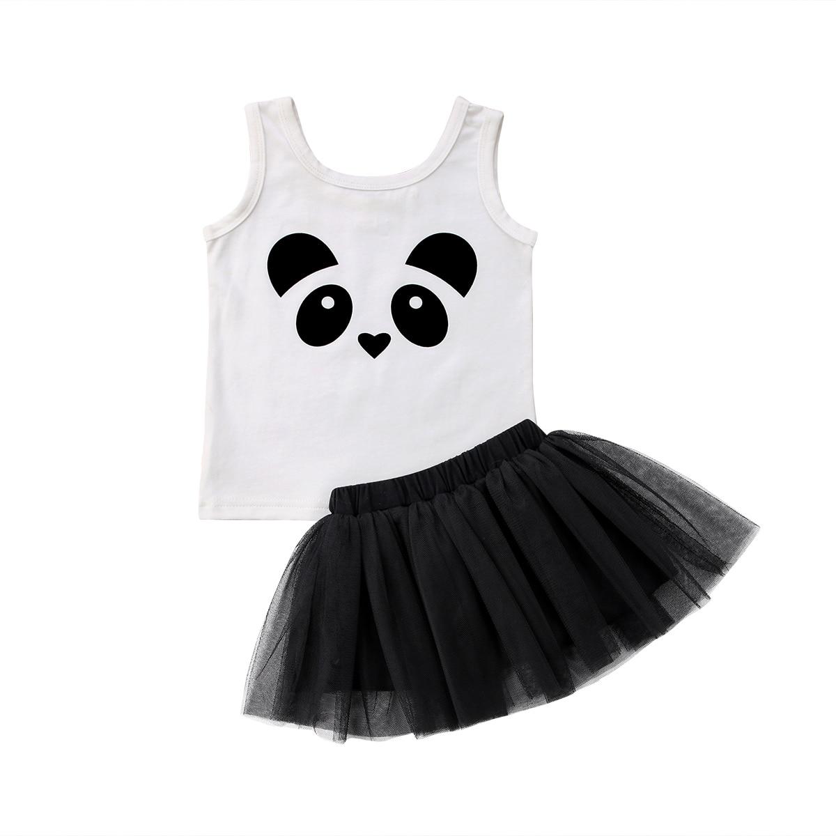 Baby Girl New Panda White Cotton Vest +Princess Dress Baby ...