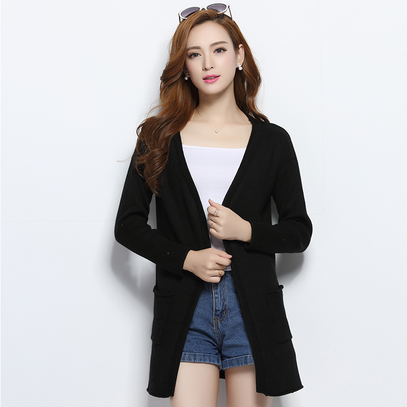 Lafarvie Cashmere Blended Knitted Sweater Cardigan Women Tops Autumn Winter V-Neck Full Sleeve Solid Color Fashion Long Cardigan