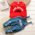 Hot!!!Fall 2015 New Boys Girls Cotton Suit Cotton Long sSeeve Shirt + Denim Overalls