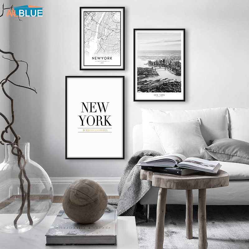 New York Poster City Map Canvas Painting Building Wall Art Canvas Prints Landscapes Black And White Wall Picture For Living Room