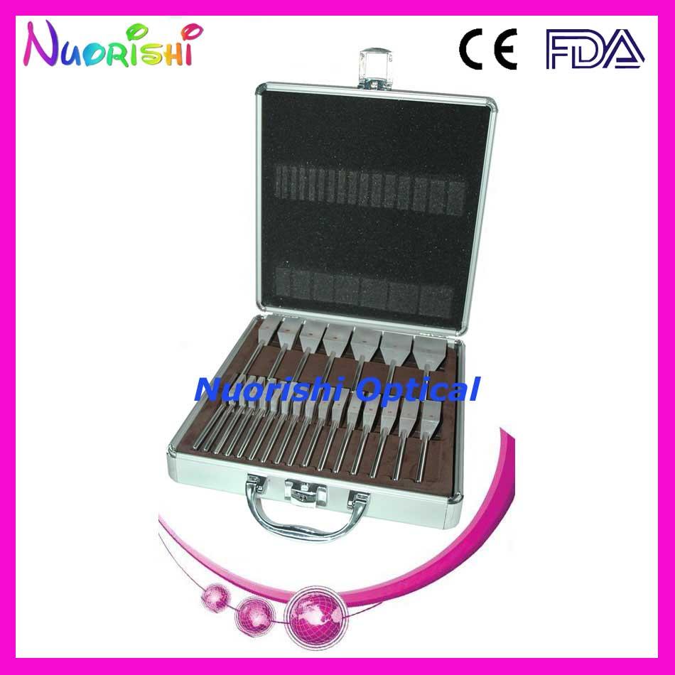HLS22 oftálmica óptico Optometría de K9 suelto prisma bares mango de acero inoxidable conjunto Kit de caja de aluminio embalado envío gratis