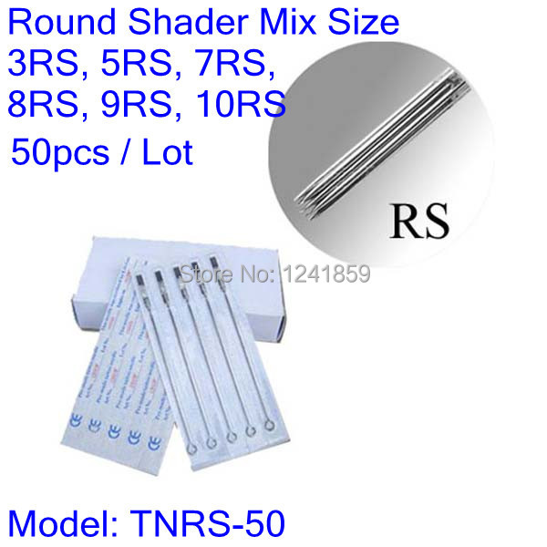 50pcs U Pick Size Sterilized Tattoo Needles Round Shader 3RS 5RS 7RS 8RS 9RS 10RS TNRS-50#