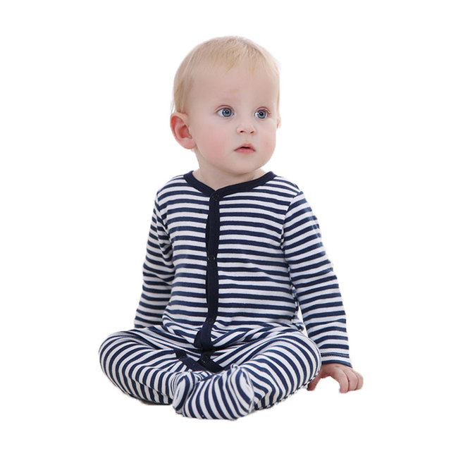 Baby Clothes 100% Cotton Soft Black Striped Infant Sleepwear Baby Clothing Baby Footies Fashion Body Pajamas 0-12M