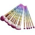Coshine nueva arriveral 10 unids/set rainbow unicorn brillante cepillo del maquillaje crema de fundación brocha para polvos profesionales blush brush kits