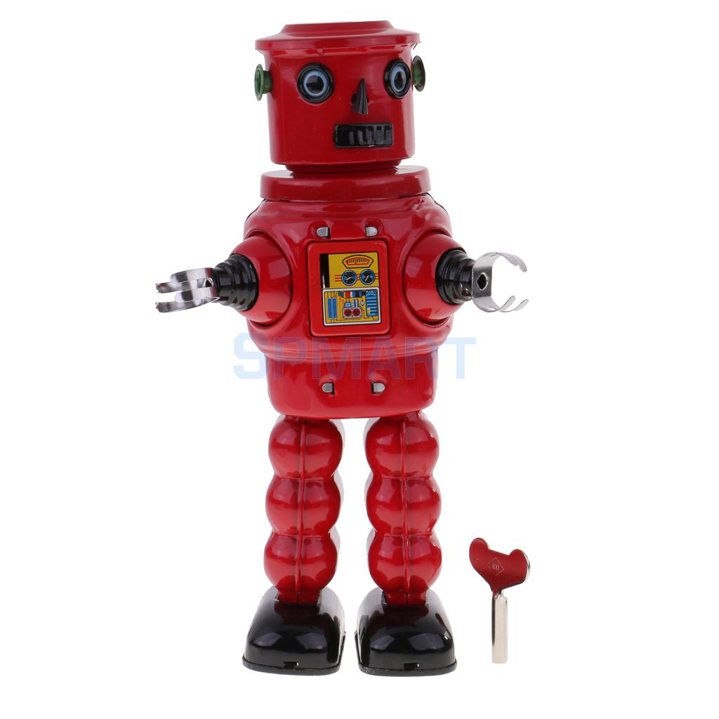 Retro Wind Up Clockwork Mechanical Walking Tin Red Roby Robot Toy Kids Adult's Vintage Classic Toys Gifts
