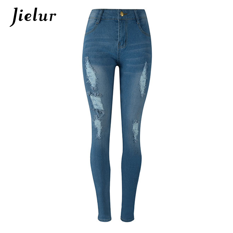 2017 Europe New Fashion Women Trousers Slim Blue Jeans Woman Ripped Hole Jeans with High Waist Leisure Female Pencil Pants S-2XL 2017 jeans for women new thin slim trousers pencil pants high waist small jeans plus size xl 5xl fashion vintage blue jeans