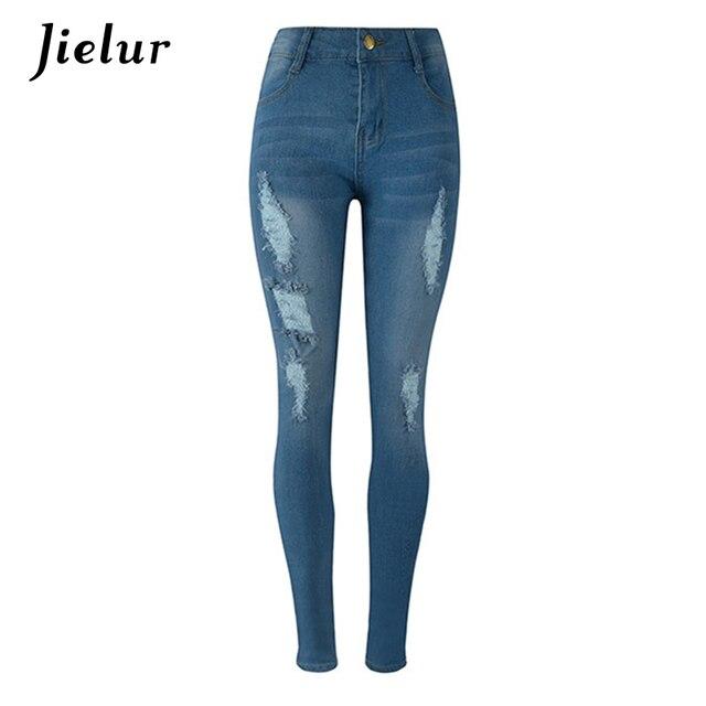 Slim Femme L'europe Pantalon Mode 2018 Nouvelle Jeans Femmes Bleu nwOX08Pk