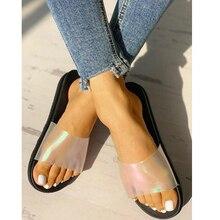 Summer Women Slides Fashion Laser Slippers Home Bathroom Beach Flip Flops Shoes Outside Flat Zapatillas P25