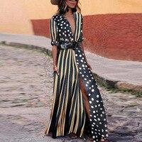 Black white polka dots striped dress Women high waist slit long dress Autumn 2018 fashion sexy v neck dresses Maxi vestidos