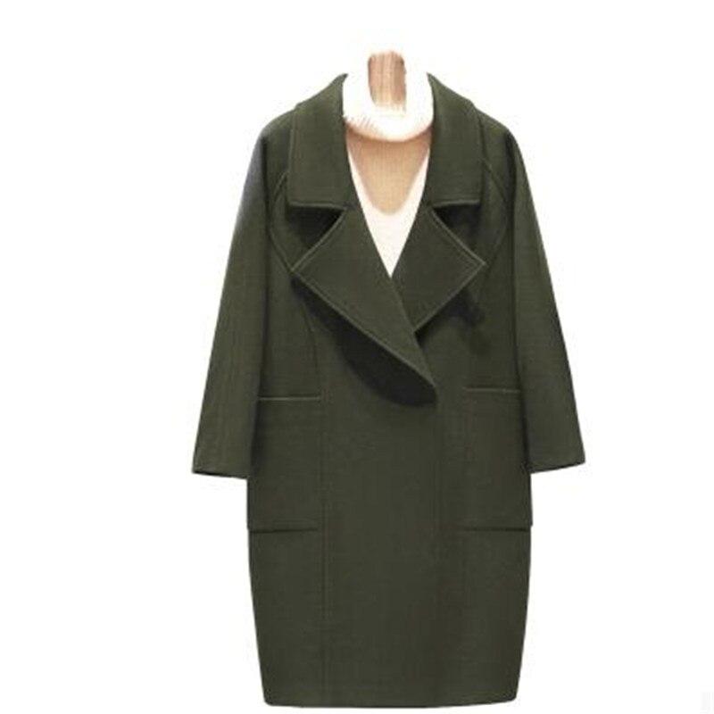 Цю дон женский имитация кашемира пальто элегантный темперамент женской толстой шерсти шерстяная ткань большой размер высокого класса пальто OK35