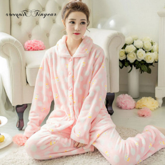 b2283e70fe Tinyear 2017 New Pyjamas Women Flannel Adults Winter Warm Pajama Sets long  Sleeved big size Sleepwear Femme Pijamas Pants