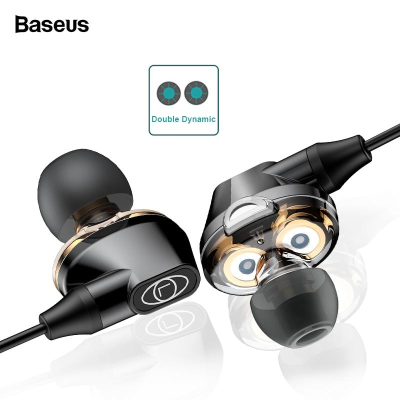 Baseus H10 Double Dynamique Pilote Filaire Écouteurs Pour Téléphone Stéréo Son Casque 3.5mm Jack Écouteur Avec Mic kulakl k fone De Ouvido