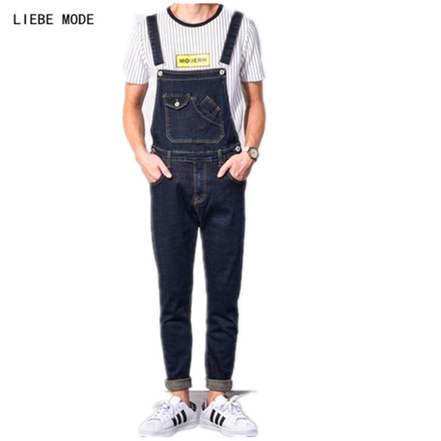 a564ea36f6e male black denim bib coverall plus size denim jumpsuit for men fashion mens  slim fit overalls jeans long suspender pants 3xl