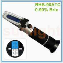Wholesale 10pcs/lot RHB-90ATC Wide-range 0-90% Brix Refractometer with Plastic Retail Box - DISCOUNT ITEM  10% OFF Tools