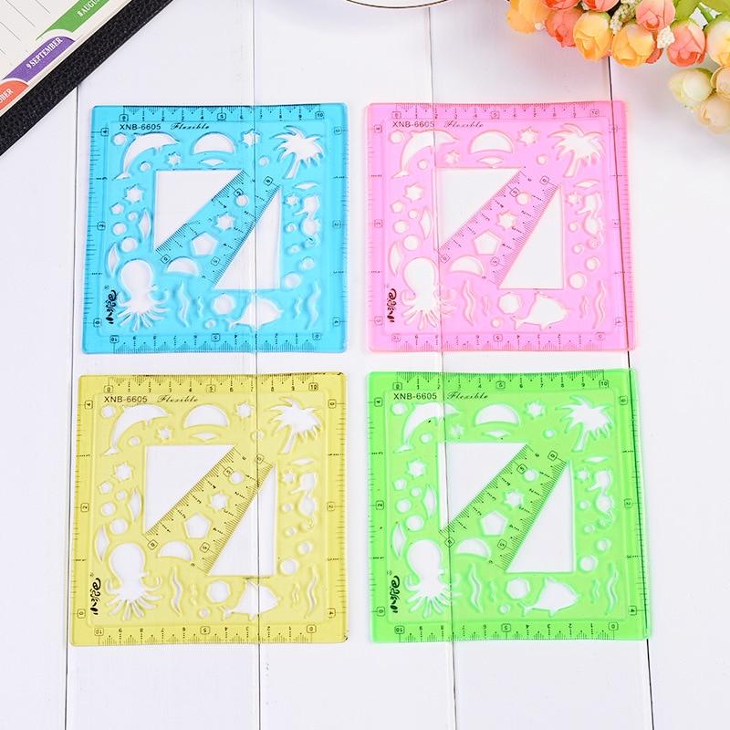 12pcs/lot New Creative PVC Plastic Hand Book Drawing Soft Ruler Children's Stationery 4corner Bookmark Ruler Template Ruler