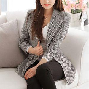 Image 3 - נשים משובץ ארוך שרוול טרייל בתוספת גודל פורמליות מעילי חליפת גבירותיי עבודה ללבוש מזדמנים הלבשה עליונה