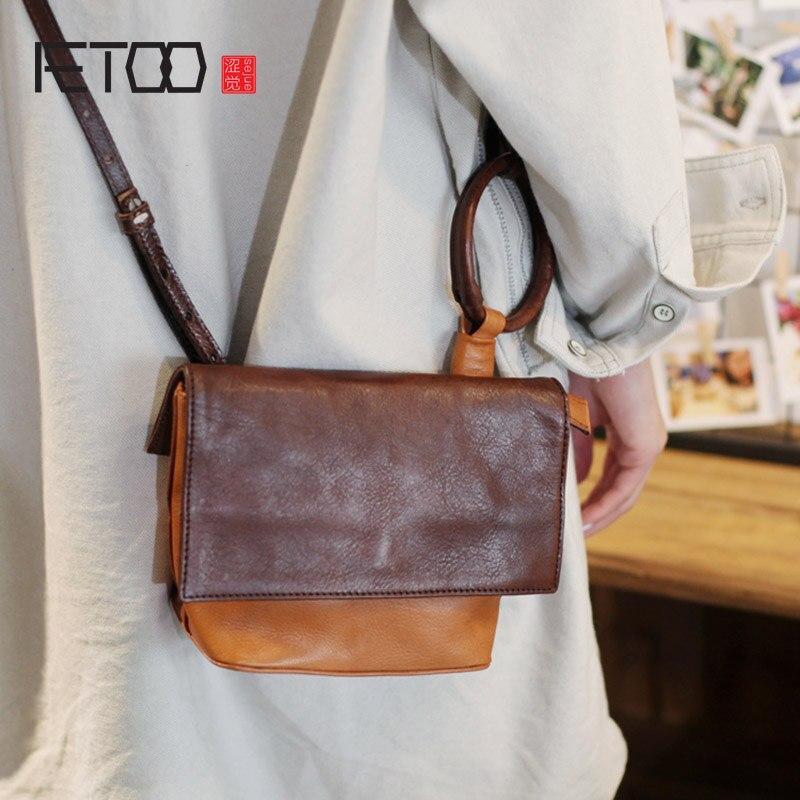 Sac de fée AETOO Mori, sac de boulette rétro ado, sac bandoulière en cuir fait main, sac bandoulière femme trompettiste