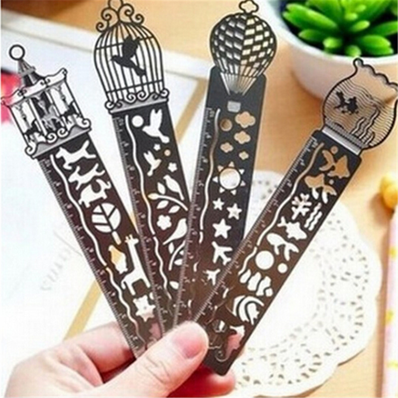 1pcs Creative metal straight ruler bookmark Hollow Ultra-thin ruler Korea Children stationery office school supplie 2015 new