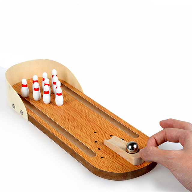 Wooden Mini Bowling Games Family Interactive Miniature Bowling Set for Kids Adults Entertainment Finger Board Game Kits