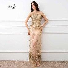 Lorie vestido de fiesta largo 2017 flores champagne vestidos largos para la boda vestido de noche del partido para mujer de imágenes reales