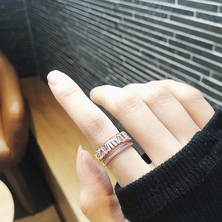 MENGJIQIAO 2018 Новое нежное блестящее женское кольцо с фианитом микро проложенный камень CZ Двухслойное Открытое кольцо Модные Ювелирные изделия Подарки|Кольца|   | АлиЭкспресс