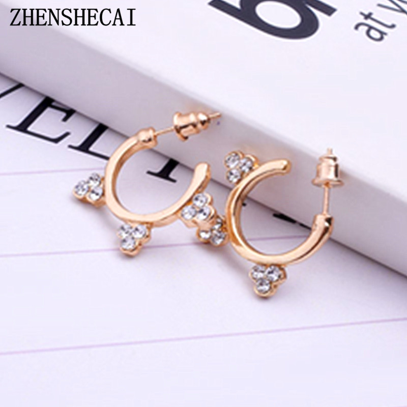 High quality 1 unit Punk Style Women ear nose ring gold sliver color crystal Piercing Hanger Ear Body Jewelry wholesale e0315