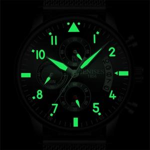 Image 3 - Reloj de cuarzo de acero para hombre, correa de malla completa, cronógrafo de piloto de moda, analógico, resistente al agua, FD2711