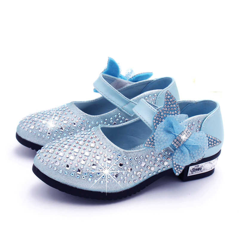 New Children s Little Girl High Heel Rhinestone Princess Party Dance  Leather Shoes For Girls Kids School e5ab17255109