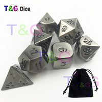 Top Quality T G Metal Dice Set Of 7pcs Polyhedral Dice Set Chrome Metallic RPG Role
