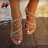 NAN JIU MOUNTAIN Shoes Woman Summer Sandals Roman Pearl Handmade Beaded Flat  Women  39 s Shoes Large Size 34-43 358bdb163b0a