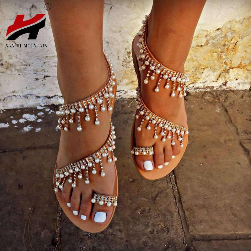 979d49a4b NAN JIU MOUNTAIN Shoes Woman Summer Sandals Roman Pearl Handmade Beaded Flat  Women's Shoes Large Size