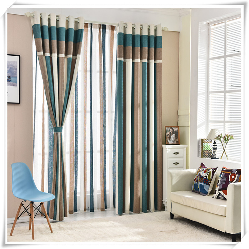 [byetee] Minimalist vertical Stripe chenille curtains Thicken modern Mediterranean style curtains Drapes for Living room Bedroom