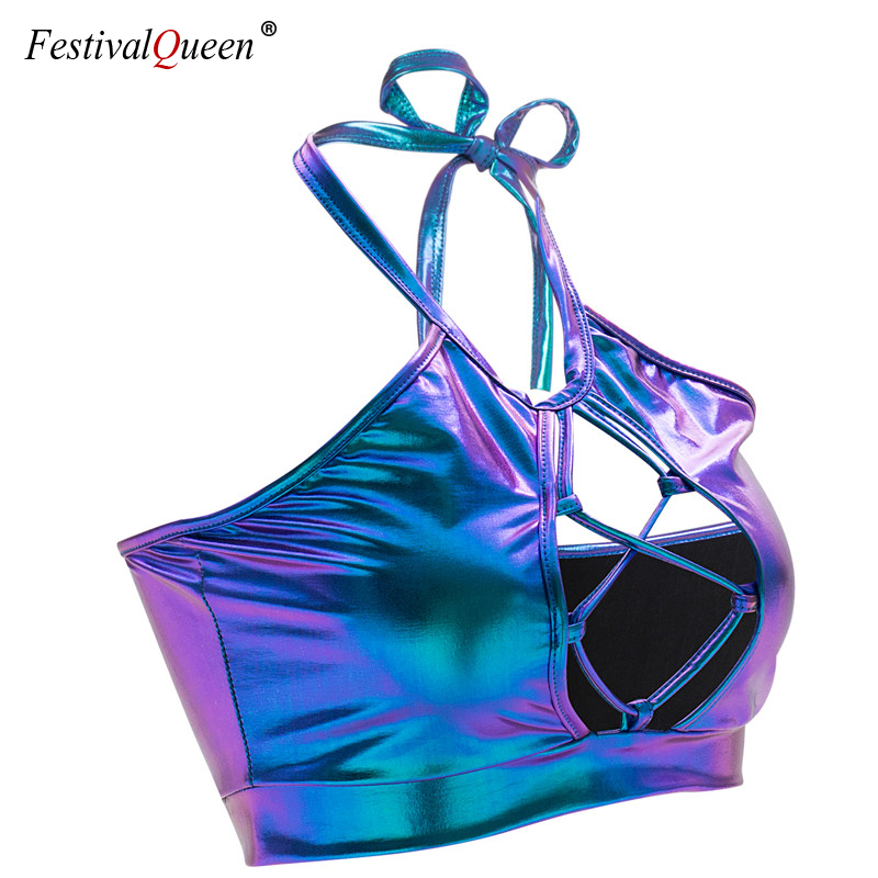 FestivalQueen 2019 Shiny Holographic Metallic Color   Tank     Tops   Sexy Slim Backless Halter Street wear Crop   Top   for Women