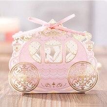 10 шт. Бумага Коробки конфет Свадебные Пользу, свадебные коробка вечеринок Подарочная коробка с лентой свадебный сувенир BODA