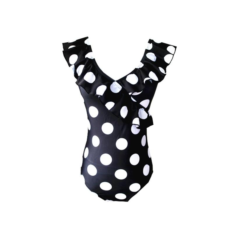 Sexy 2020 Lady V Neck Frill Ruffled Polka Dot Thong Swimwear Women One piece Swimsuit Female Swim Bathing Suit Monokini Trikini 5
