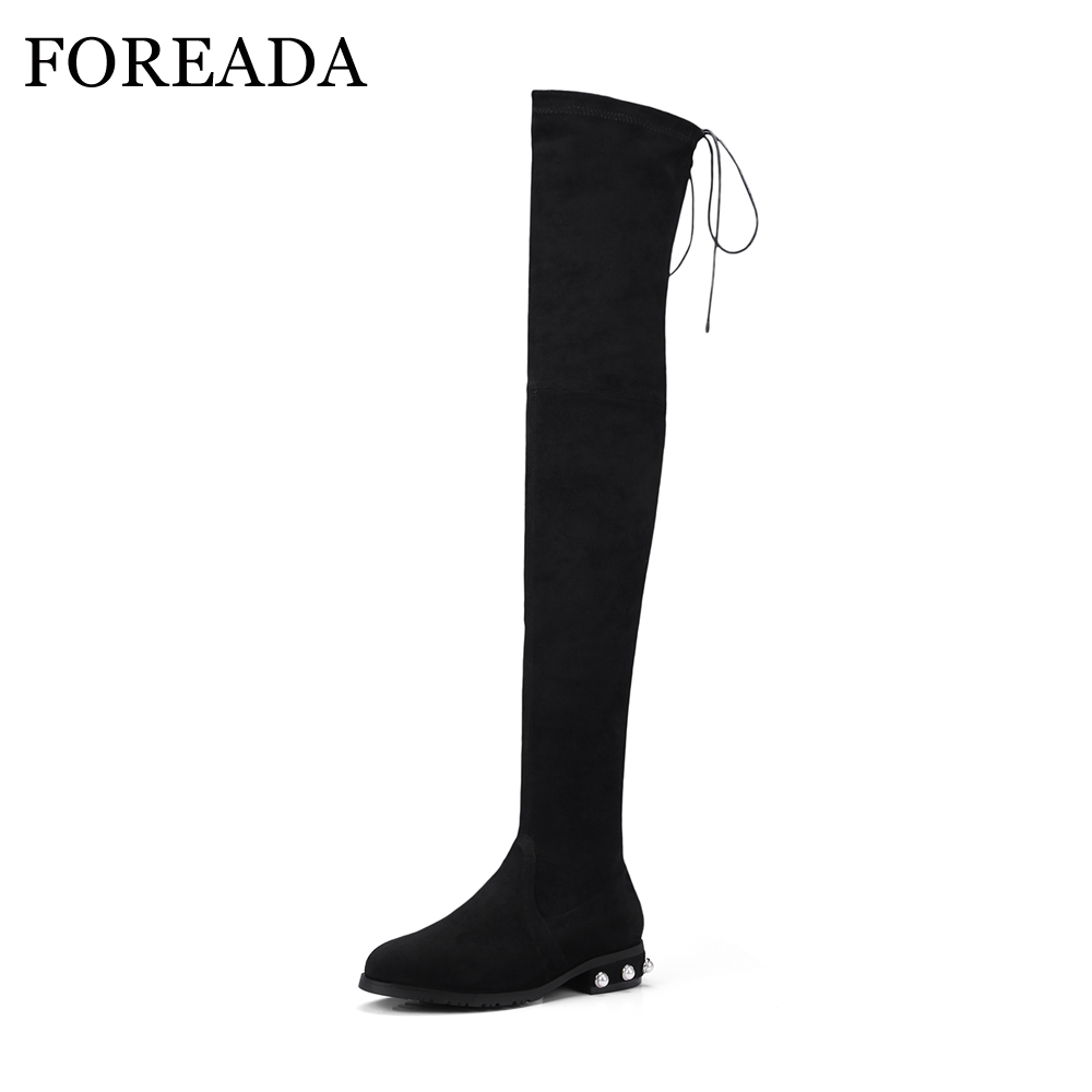 FOREADA Designer Women Riding Boots Stretch Thigh High Boots Flock Winter Slim Over The Knee Boots String Bead Spring 2018 Shoes