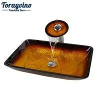 Torayvino New Gold Bathroom Sink Washbasin Bath Set Faucet Mixer Taps Tempered Glass Hand Painted Waterfall