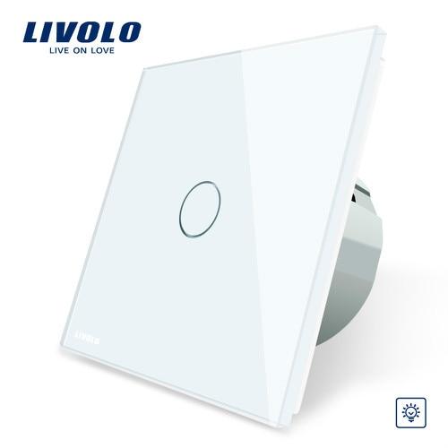 Livolo/Стандартный диммер настенный выключатель, AC 220~ 250 V, с украшением в виде кристаллов Стекло Панель, 1 местный 1 позиционный диммер, VL-C701D-1/2/3/5, без логотипа - Цвет: White