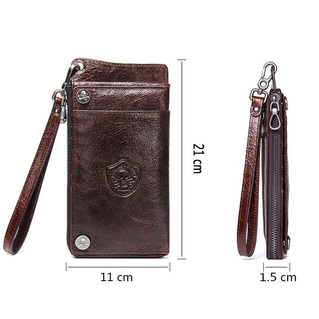 CONTACT'S Men's Wallet Genuine Leather Clutch Man Walet Brand Luxury Male Purse Long Wallets Zip Coin Purse  6.5 4