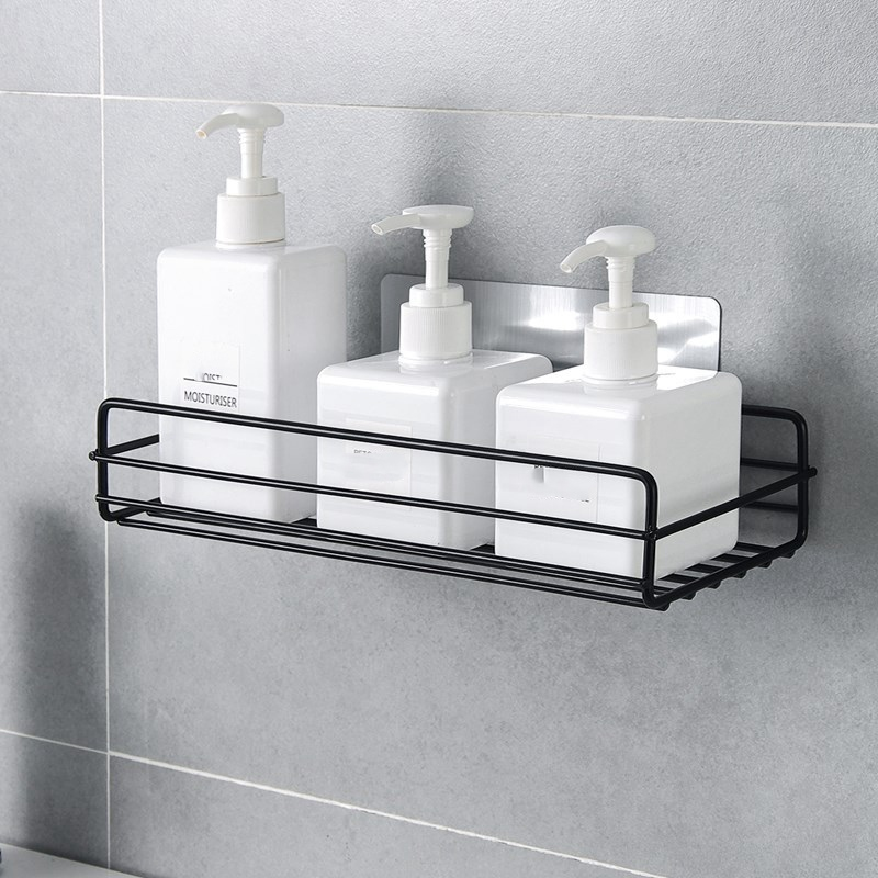 Self-Adhesive Sundries Organizer Shower Shelf Basket Bathroom Shampoo Holder Wall Corner Kitchen Free Punching Wall Hanging