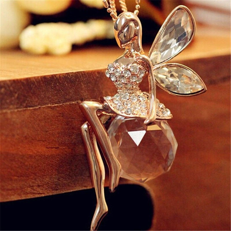 Fashion Women Jewelry Crystal Angel Wings Gold Plated Long Chain Necklace Ahiny
