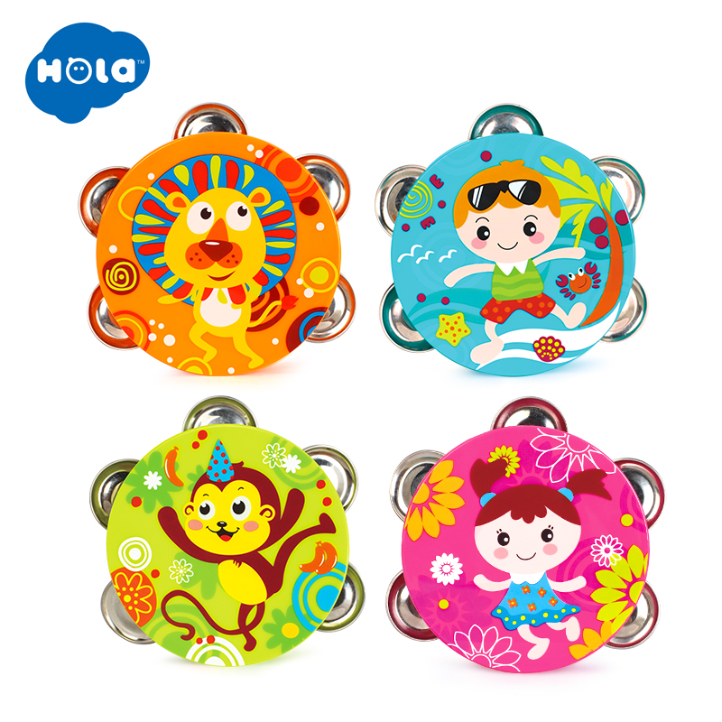 1PC HOLA 3102B Baby Musical Drum Tambourine Early Learning Educational Toys Hand Held Tambourine Drum Bell Rattle Toy
